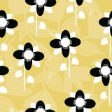 Folk black and white flowers on mustard background seameless repeat. Great for invitations, fabric, wallpaper, giftwrap, scrapbook paper. Surface pattern royalty free illustration