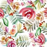 Folk blom- prydnad Blom- vattenfärgteckning vektor illustrationer