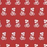 Folk blommor för sömlös vektormodell som är vita på rött royaltyfri illustrationer