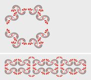 Folk border and mini frame. Design elements - red,white and gray. Additional vector format (EPS royalty free illustration