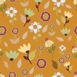 Folk brown blue pink flowers seameless repeat. vector illustration