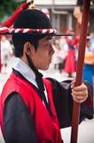 Folk celebrations in Seoul, traditional guard stock photo