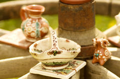 Folk clay tableware Royalty Free Stock Photo