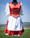 Folk costumes in Hungary for women. By lake Velence stock photos