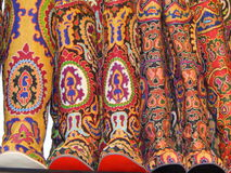 Folk crafts. High boots with oriental embroidery. Ladja-2014. Spring fantasy  - the exhibition of folk crafts. Moscow. March, 2014 Stock Image