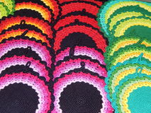Folk crafts. Knitted napkins. Ladja-2014. Spring fantasy - the exhibition of folk crafts. Moscow. March, 2014 stock photos