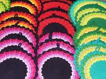 Folk crafts. Knitted napkins Stock Photos