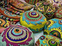Folk crafts. National hats with oriental pattern embroidery. Ladja-2014. Spring fantasy  - the exhibition of folk crafts. Moscow. March, 2014 Royalty Free Stock Photos