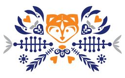 Folk cute folk pattern with fox and flowers. Patterned heart. Mascot. Logo. vector illustration