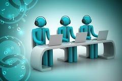 folk 3d i ett modernt skrivbord med bärbara datorn Royaltyfria Bilder