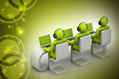 folk 3d i ett modernt skrivbord med bärbara datorn Royaltyfria Foton
