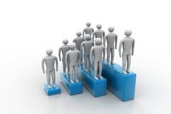 folk 3d i gruppen, ledarskapbegrepp Arkivbilder