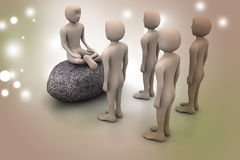 folk 3d i meditation Royaltyfri Fotografi