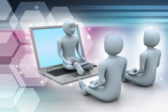 folk 3d i meditation med bärbara datorn Royaltyfri Foto
