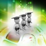 folk 3d med avläggande av examenlocket Arkivfoto