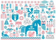 Swedish Dala horse pattern, Scandinavian seamless folk art design with flowers stock illustration