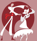 Folk dance. Young man and woman performing folk dance Royalty Free Stock Photo