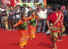 Folk Dance of Assam, India Stock Images