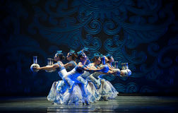 Folk Dance: the blue and white porcelain. March 2, 2011. a reflection of Jiangxi original ecological humanities landscape of large style song and dance the wind royalty free stock photography