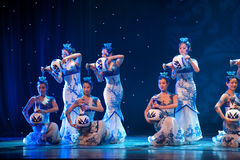 Folk Dance: the blue and white porcelain. March 2, 2011. a reflection of Jiangxi original ecological humanities landscape of large style song and dance the wind royalty free stock images