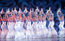 Folk Dance: the blue and white porcelain. In May 7, 2010, a reflection of Jiangxi original ecological humanities landscape of large style song and dance the wind Stock Photography