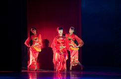 Folk Dance: bride Opera. In May 7, 2010, a reflection of Jiangxi original ecological humanities landscape of large style song and dance the wind in Jiangxi Art Stock Image