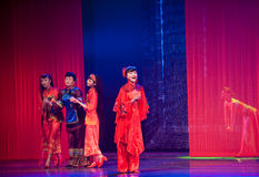 Folk Dance: bride Opera. In May 7, 2010, a reflection of Jiangxi original ecological humanities landscape of large style song and dance the wind in Jiangxi Art Royalty Free Stock Photography