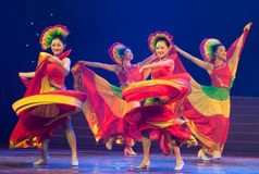 Folk Dance: colorful melody. March 2, 2011. a reflection of Jiangxi original ecological humanities landscape of large style song and dance the wind in Jiangxi Stock Photos