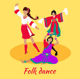 Folk Dance Concept Flat Design Stock Photography