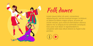 Folk Dance Conceptual Flat Style Vector Web Banner. Folk dance concept web banner. Flat vector. Three women in ukrainian, indian, chinese national clothes Stock Photography