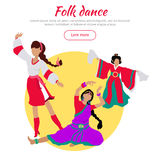 Folk Dance Conceptual Flat Style Vector Web Banner. Folk dance concept web banner. Flat vector. Three women in ukrainian, indian, chinese national clothes Royalty Free Stock Photography