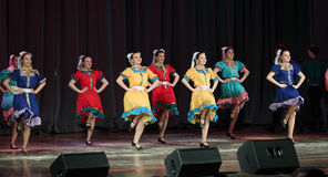 The folk dance ensemble. Dancing on stage stock image