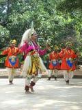 Folk Dance of India. BANGALORE - DECEMBER 06: Artists perform a famous folk dance of Karnataka, India, known as Veeragase, at the Chitra Kala Parishat, December Royalty Free Stock Photo