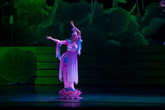 Folk Dance: Lotus. In May 7, 2010, a reflection of Jiangxi original ecological humanities landscape of large style song and dance the wind in Jiangxi Art Theatre Stock Photos