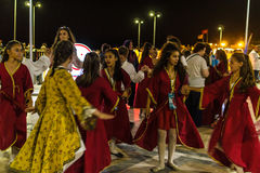 Folk Dance And Music Festival. Annual Altincinar Golden Plane Tree Festival taking place in Cinarcik town of the country Turkey with participation of Royalty Free Stock Images