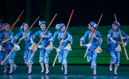 Folk Dance: The She nationality Woman. In May 7, 2010, a reflection of Jiangxi original ecological humanities landscape of large style song and dance the wind in Stock Photo