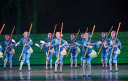 Folk Dance: The She nationality Woman. In May 7, 2010, a reflection of Jiangxi original ecological humanities landscape of large style song and dance the wind in Stock Images