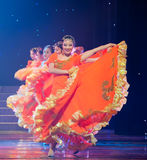 Folk Dance: Orange girl. March 2, 2011. a reflection of Jiangxi original ecological humanities landscape of large style song and dance the wind in Jiangxi Art Stock Image