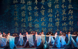 Folk Dance: Pavilion of Prince Teng. In May 7, 2010, a reflection of Jiangxi original ecological humanities landscape of large style song and dance the wind in Stock Images