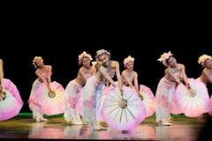 Folk Dance: Pink fan Royalty Free Stock Photography