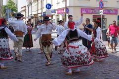 Folk dance practice on the street Royalty Free Stock Photo