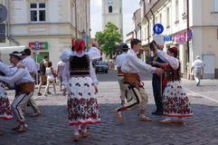 Folk dance practice on the street Royalty Free Stock Images