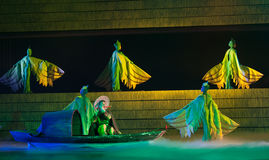 Folk Dance: the story of a fisherman. In May 7, 2010, a reflection of Jiangxi original ecological humanities landscape of large style song and dance the wind in royalty free stock photography