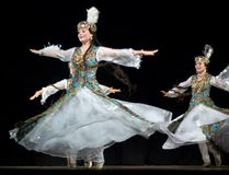 Folk dance of uzbekistan Stock Photos