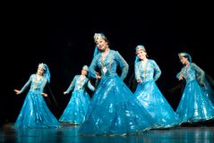 Folk dance by uzbekistan folk dancers Stock Photo
