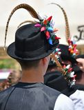 Folk dancer men in strange hat. V royalty free stock photos