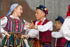 Folk dancers from city of Lowicz and traditional costumes, Polan Royalty Free Stock Image