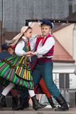 Folk dancers from city of Lowicz and traditional costumes, Polan Royalty Free Stock Images