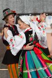 Folk dancers from city of Lowicz and traditional costumes, Polan Royalty Free Stock Photography