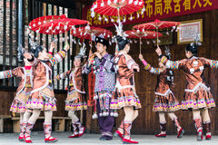 Folk dancers in Culture Show in Chengyang village Royalty Free Stock Image